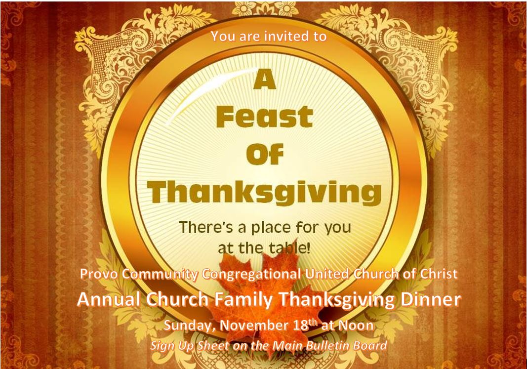 Church Thanksgiving Dinner Provo Community Congregational United Of Christ
